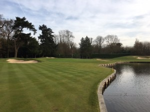 Our completed works to hole 8 - one year on. We enlarged the landing area on left side of lake to make a more strategic and enticing tee shot.