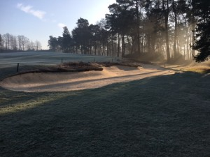 The right fairway bunker was restored and extended to the right and heather topped.