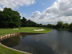 The new look 7th hole with lake extension, timber walling and strategic greenside bunkering.