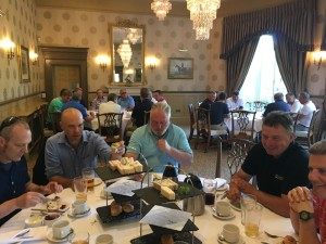 Friendship and industry interaction at golf day.