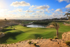 The 13th hole with large great and stunning quarry setting.