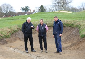 L-R. Peter Allington, Tim Lobb and Iain Dyer onsite at Tandridge GC