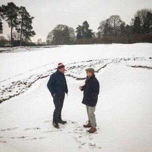 Snowy January, finishing off works at Worplesdon GC.