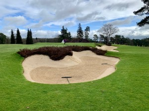 We worked hard to re edge the approach bunkers on 18 and heather topped fronting bunker to give grand finale to the round.