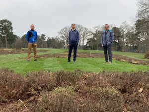 Andy Ewence, Richard Pennell and Tim Lobb on new forward tee, first hole at Woking Golf Club
